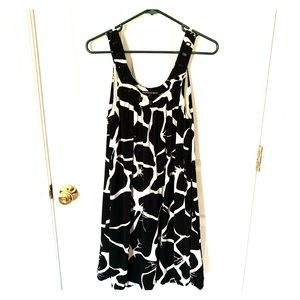 Black and white swoop neck dress
